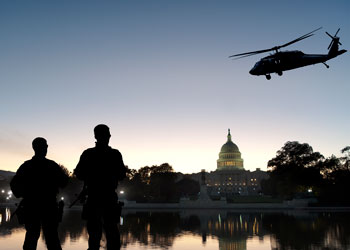 helicopter over D.C.  and Capitol building